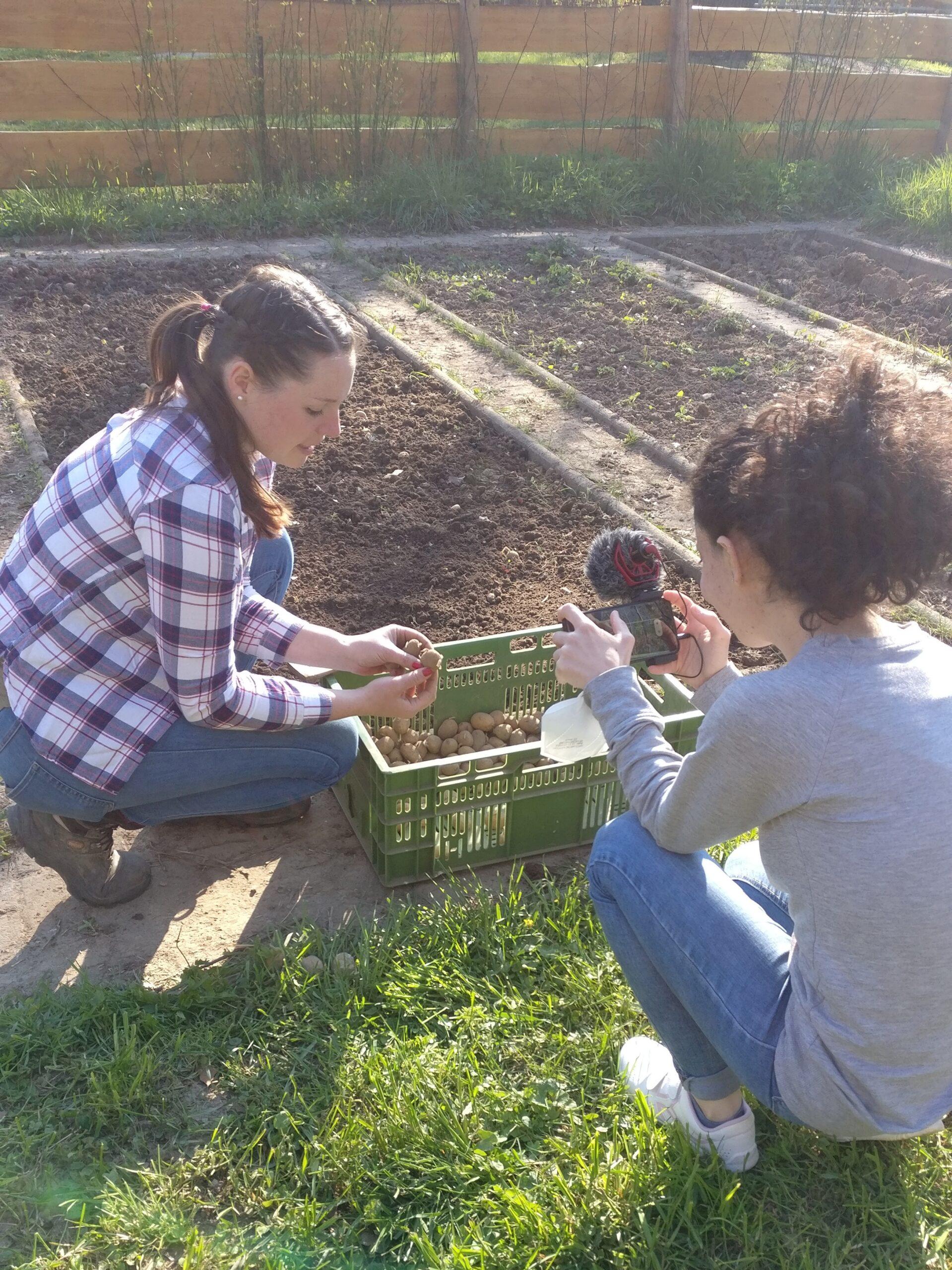 Dreharbeiten im Schulgarten