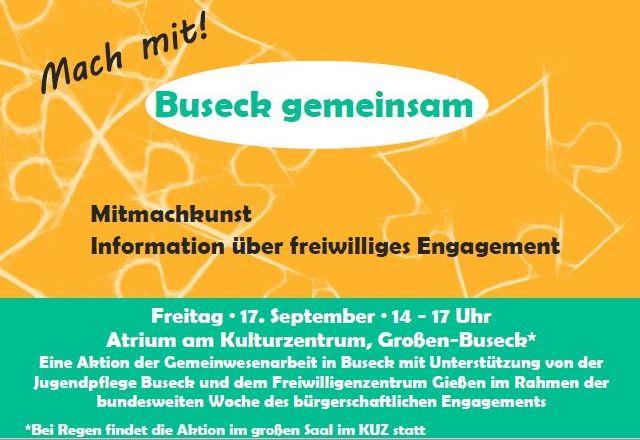 """Wo kann man sich in Buseck freiwillig engagieren? Informationsveranstaltung und """"Mitmachkunst"""""""
